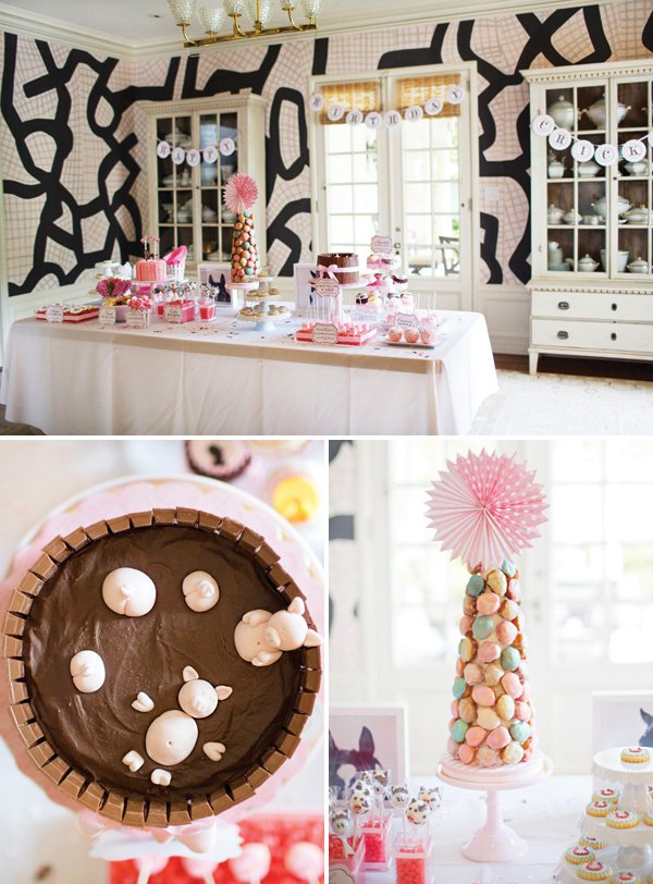 dessert table with eclair tower