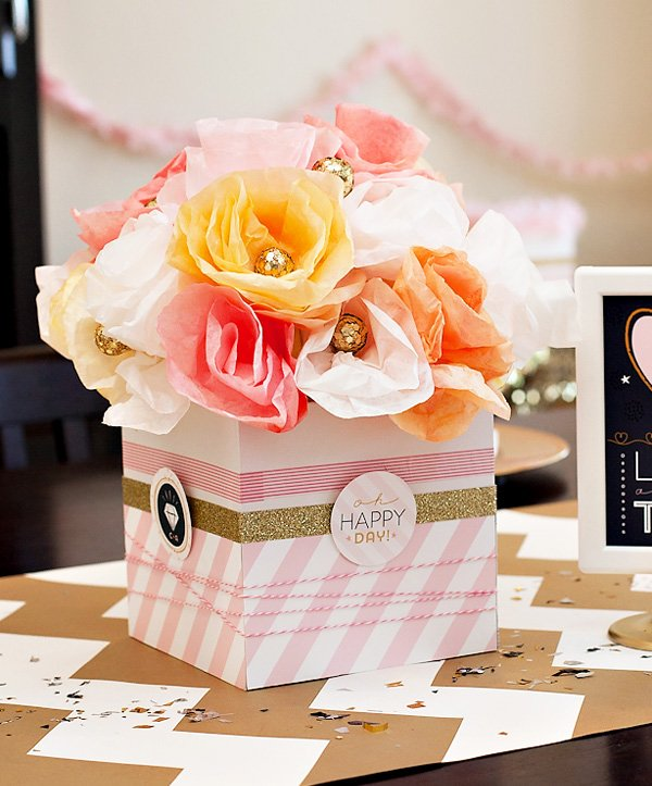DIY Bridal Shower Centerpiece with Paper Flowers