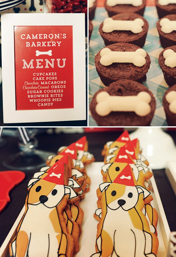 dog themed party desserts and menu