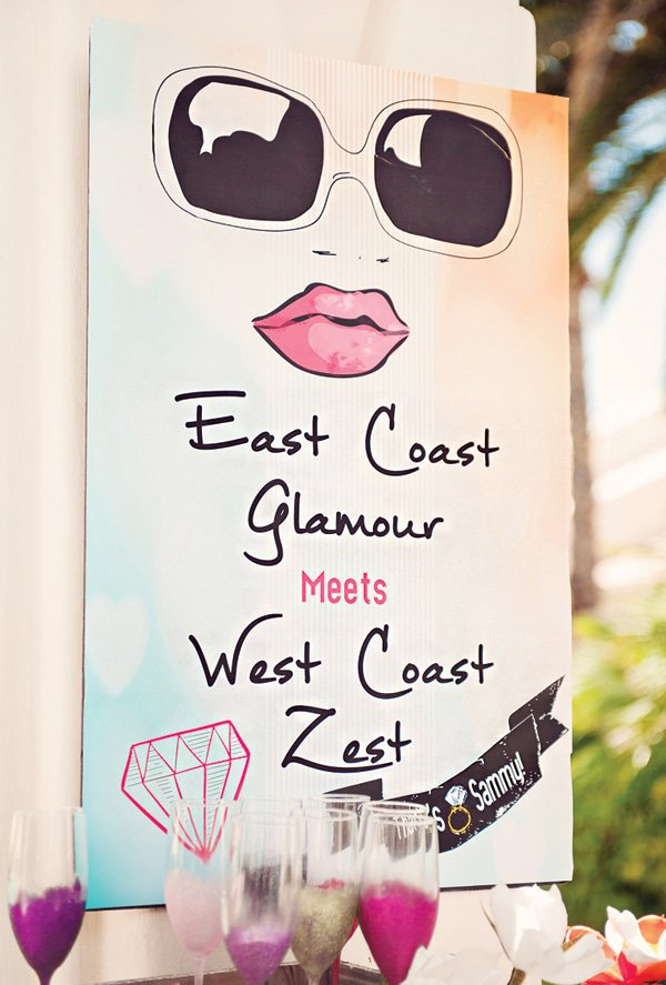 east coast glamour bridal shower sign