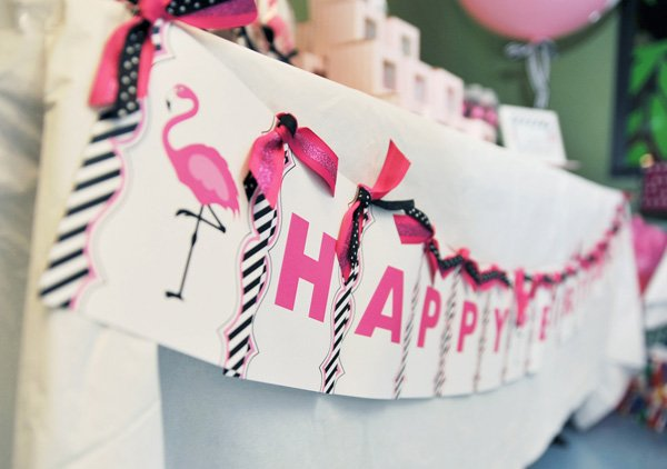 flamingo birthday party banner