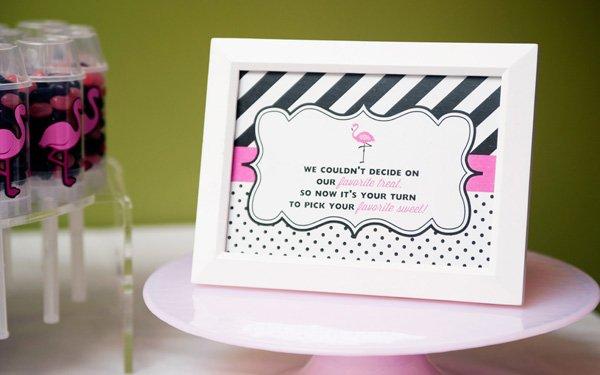 flamingo party favor signs