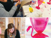 flamingo party with weaving crafts
