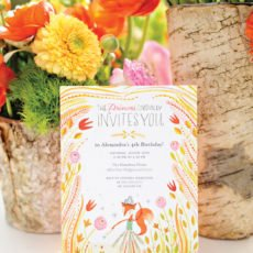 floral fox birthday party invitation