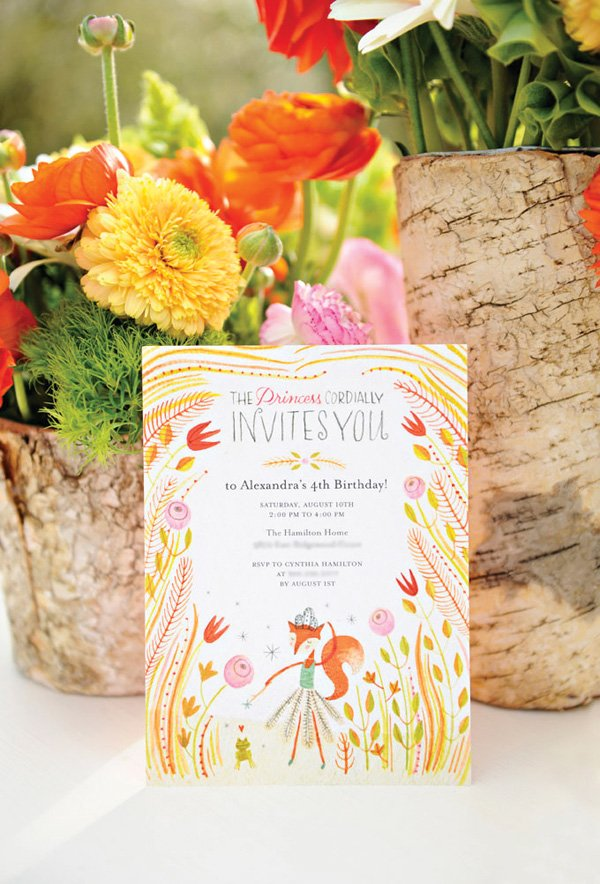floral fox birthday party invitation