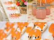 fox party cookies and orange party decor