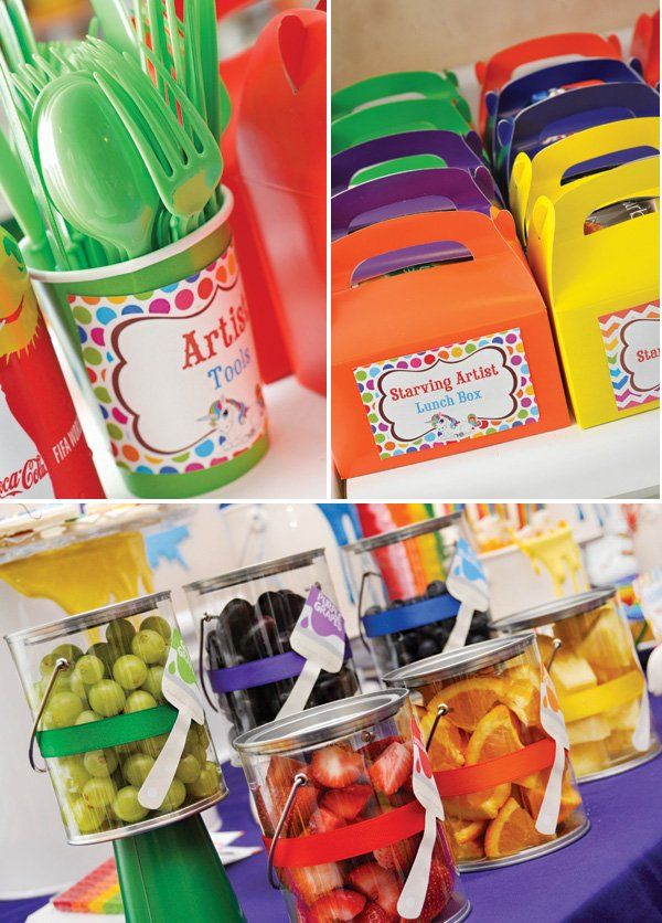 rainbow fruit filled paint cans