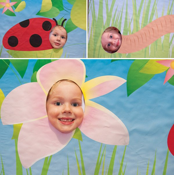 garden bug photo booth face cutouts