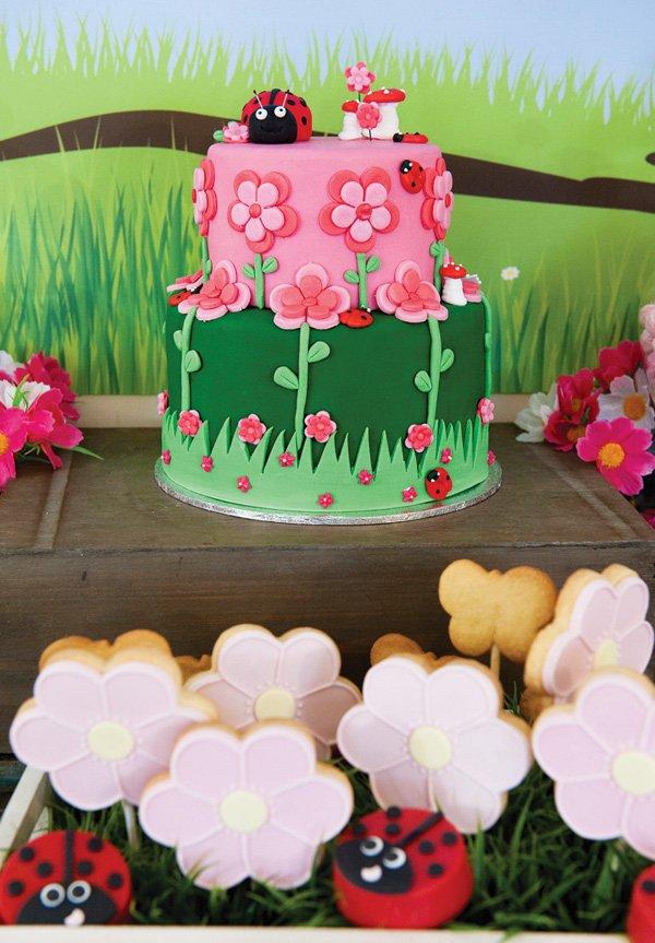 garden ladybug birthday cake