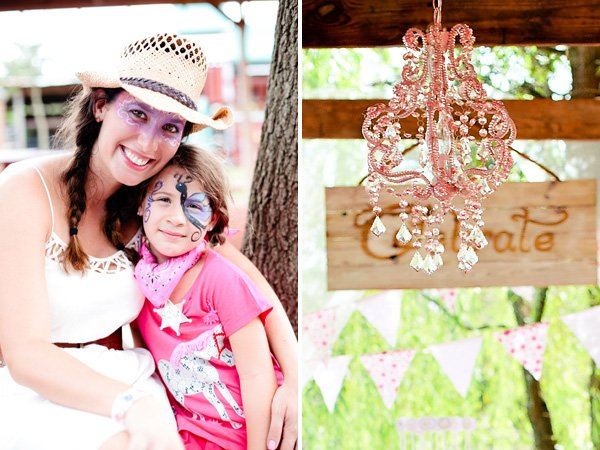 girly face painting and a pink chandelier
