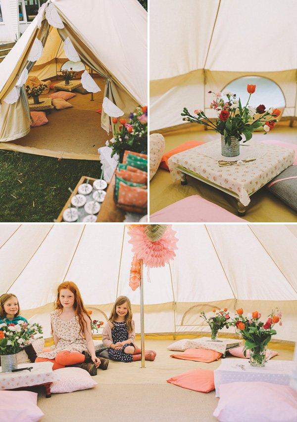 glamorous tent decor