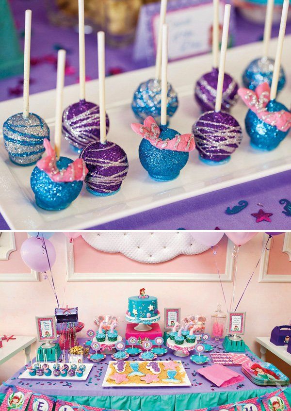glitter mermaid tail cake pops