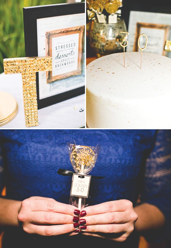 gold flake lollipops and speckled birthday cake