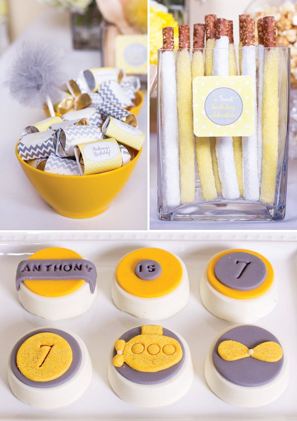 gray and yellow dessert ideas