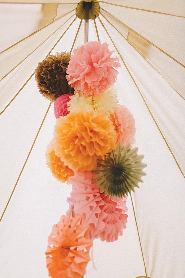 hanging tissue pom cluster