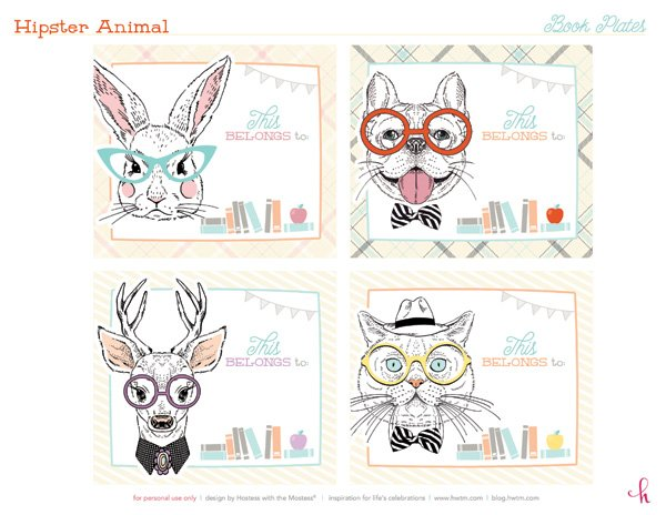 Free Printable Hipster Animal Bookplates by HWTM - Dog, Bunny, Deer, Cat