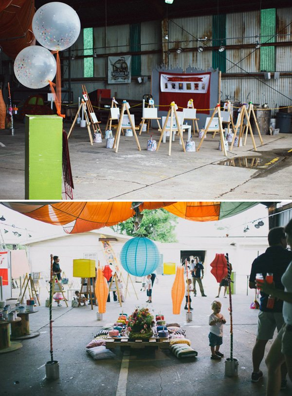 industrial art birthday party venue