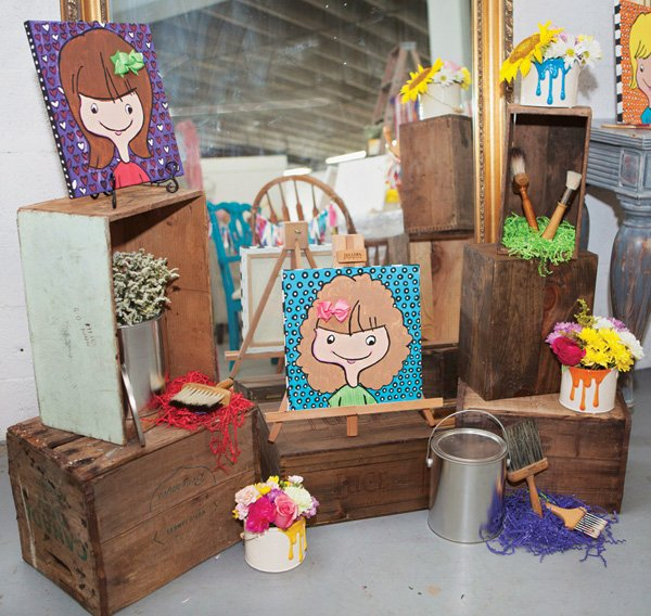 kids painting craft activity display