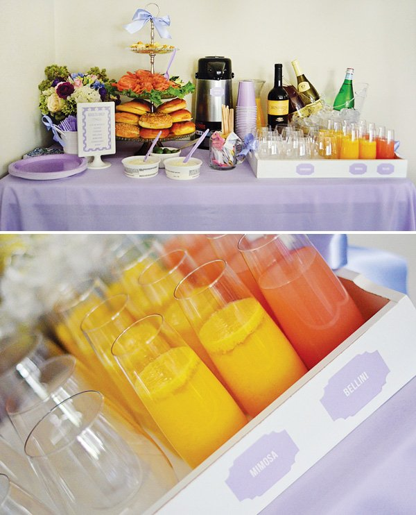 kids party adult drinks and food table