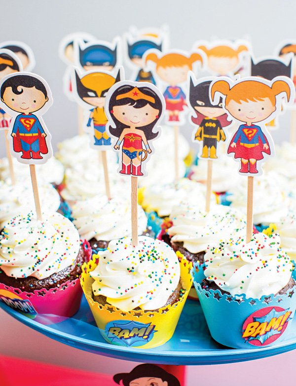 kids super hero cupcake toppers
