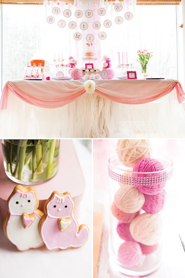 kitty cat birthday party dessert table and yarn ball centerpieces