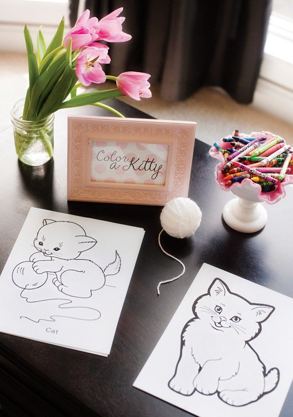 kitty coloring book party activity