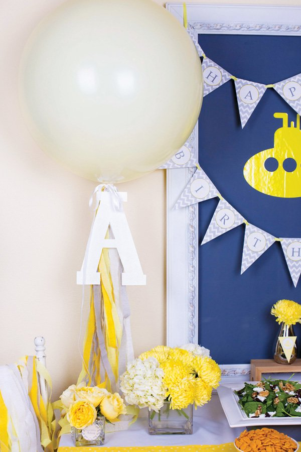 large monogrammed white balloon