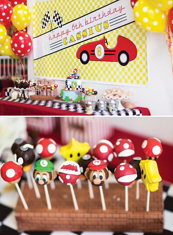 mario kart birthday party dessert table and cake pops