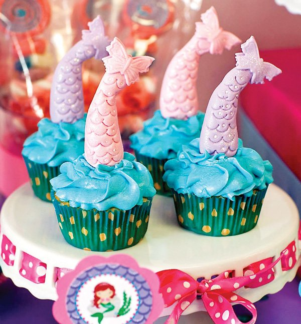 mermaid tail topped cupcakes