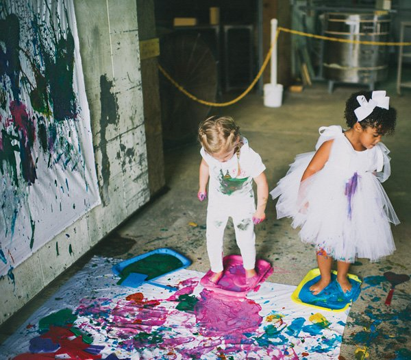 messy spatter paint party activity
