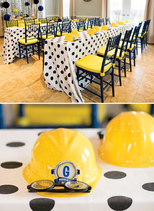 minion construction helmet party favors