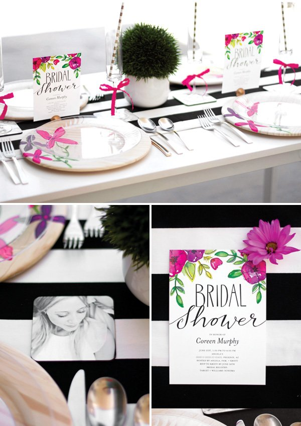 modern floral bridal shower decor and ideas