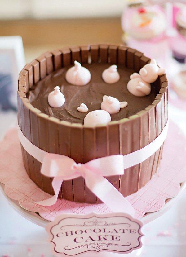chocolate muddy pig pen cake