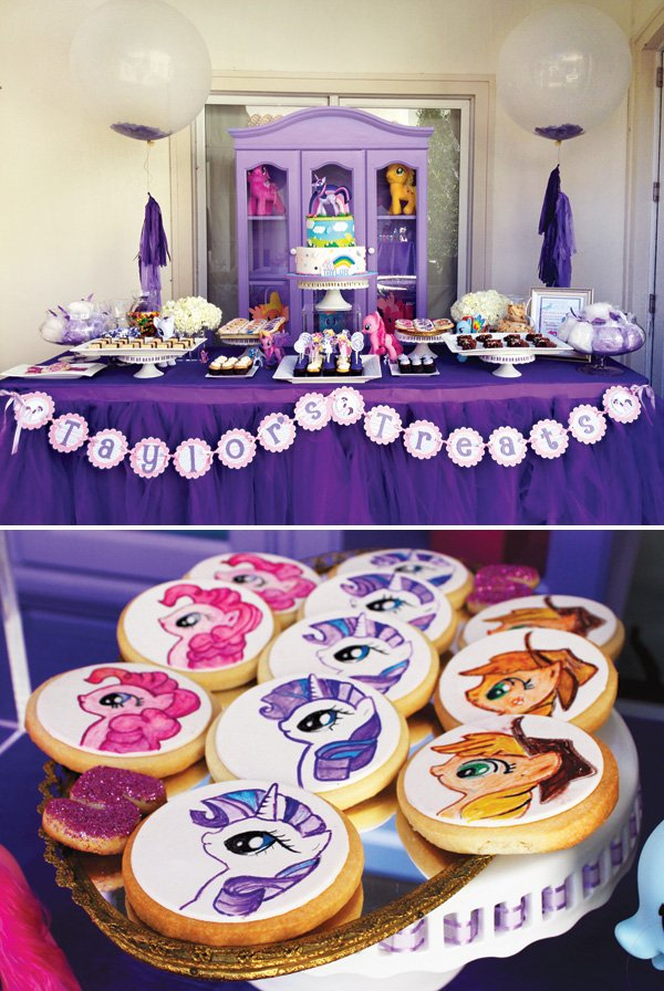 my little pony party cookies and dessert table