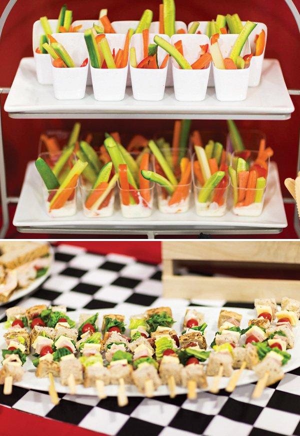 sandwich skewers as a party food idea
