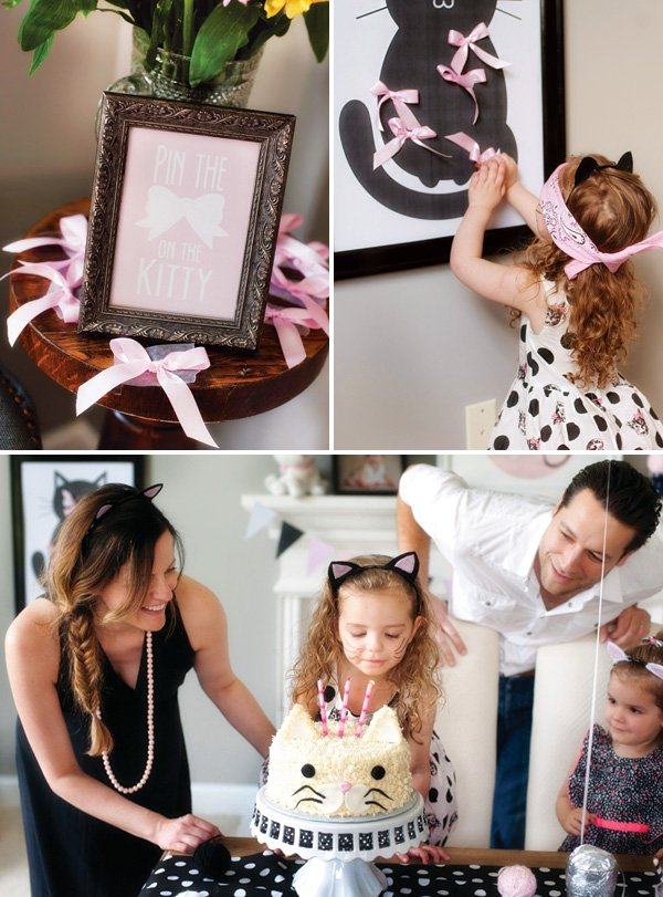 pin the bow on the kitty cat birthday party game