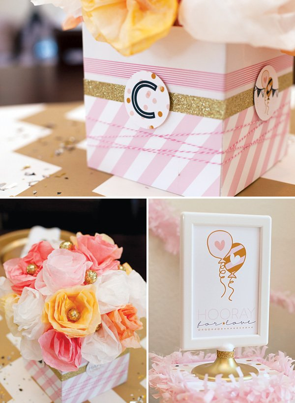 pink and gold bridal shower centerpiece with coffee filter paper flowers