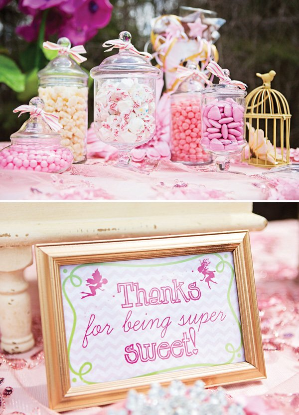 pink candy dessert table favors