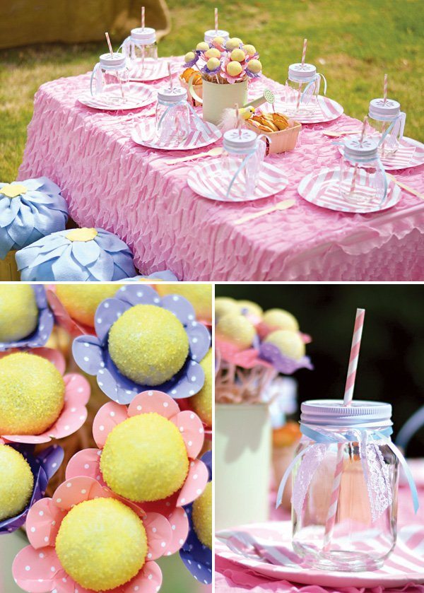pink garden birthday party tablescape