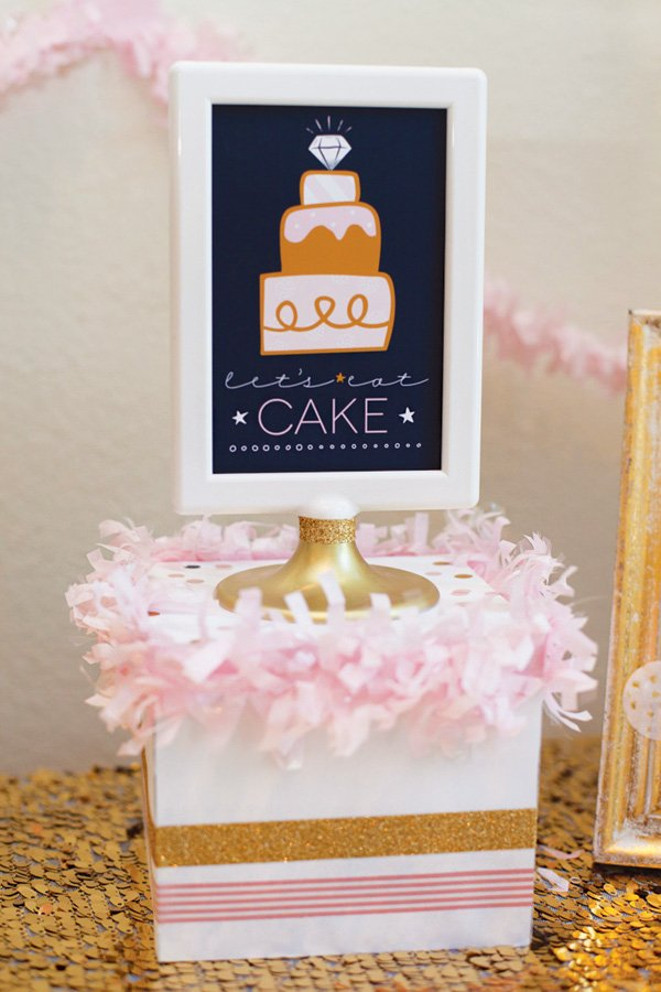 pink and gold bridal shower party sign - let's eat cake
