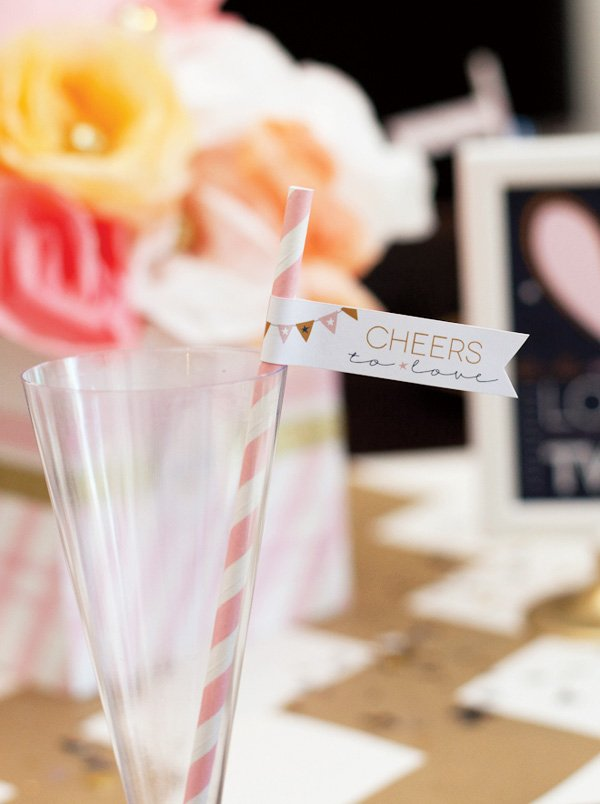 cheers to love party flag on pink stripe straw