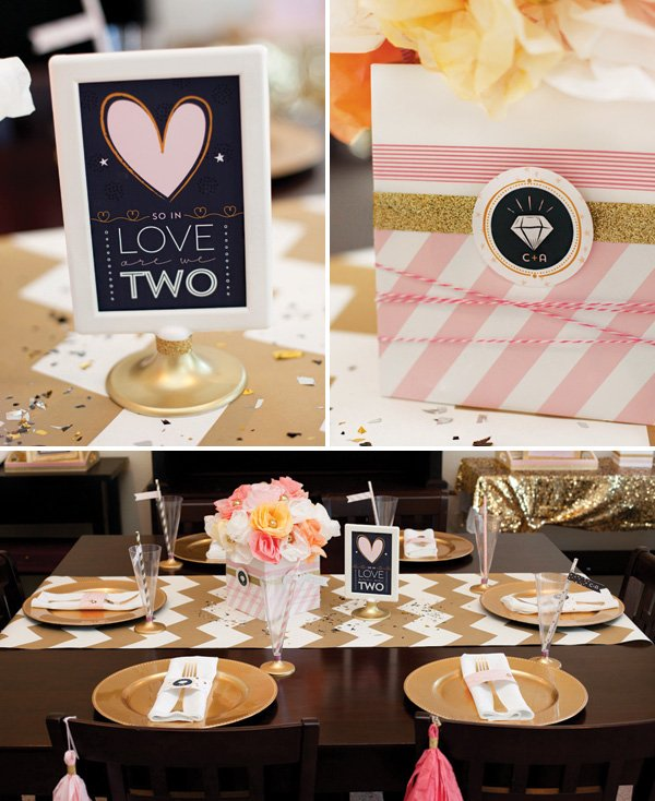 pink and gold bridal shower table