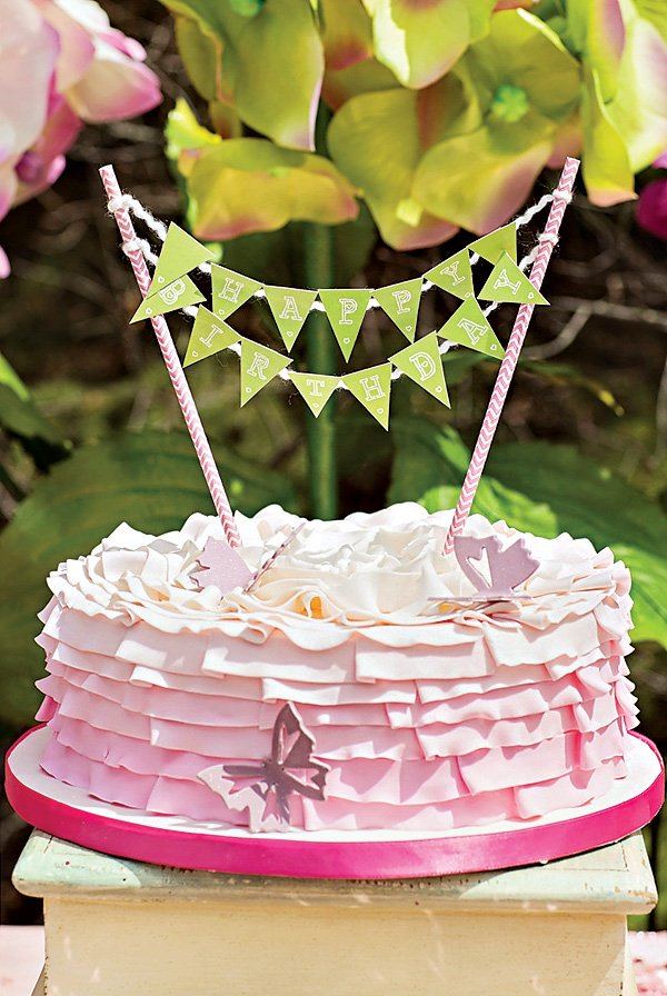 pink ombre butterfly or fairy birthday cake