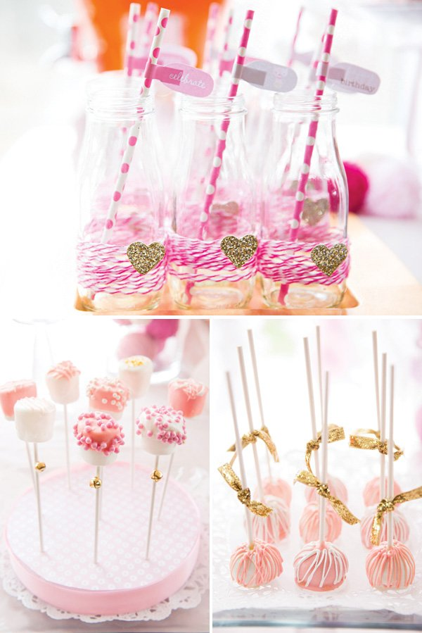pink party dessert ideas and yarn wrapped milk bottles