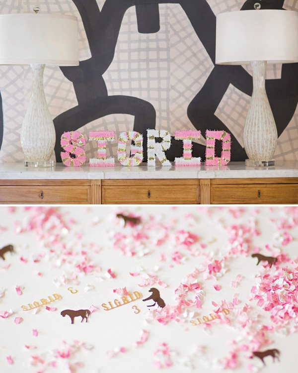 pink confetti and tissue paper letters