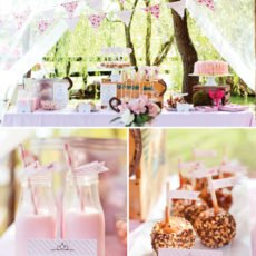 pink country western birthday party dessert table with strawberry milk