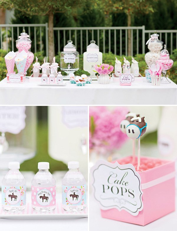 pony themed dessert table and pony cake pops