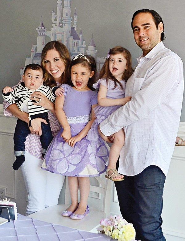 princess birthday party family photo