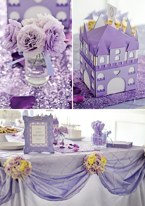 princess sofia inspired party tablescape and centerpieces