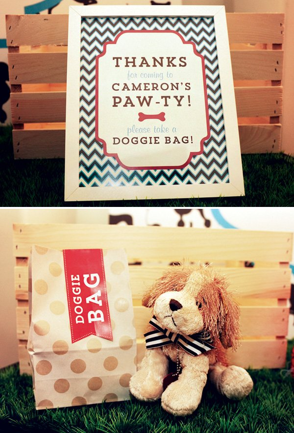 stuffed animal puppy party favors and doggy bags